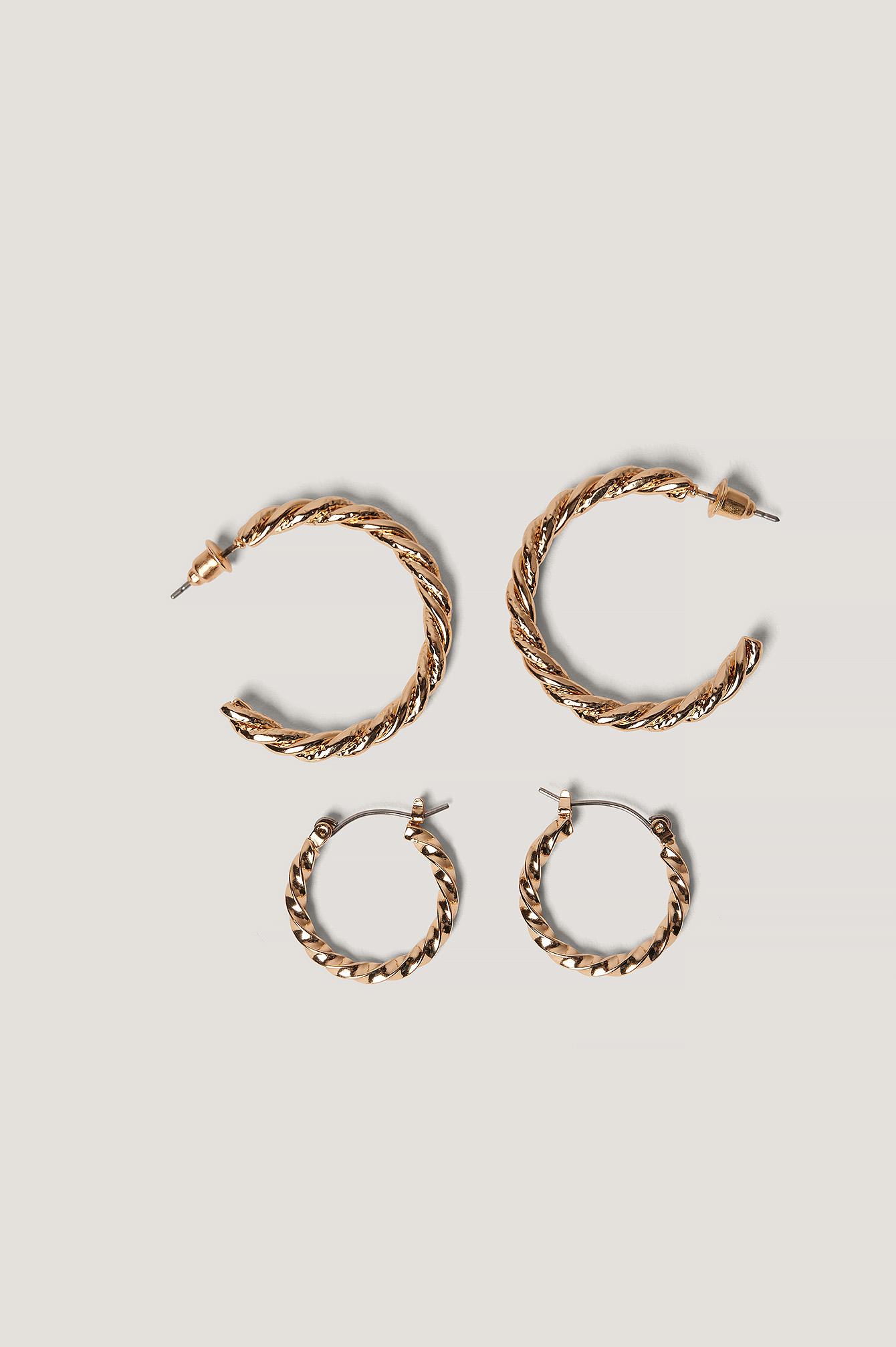 na-kd accessories -  Geflochtenes Ohrringe-Set - Gold