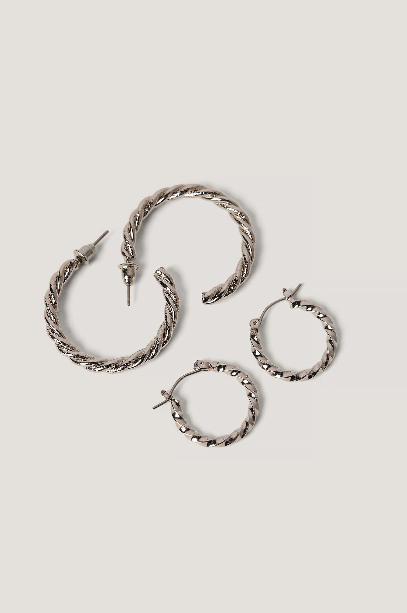 Na-kd Braided Earrings Set - Silver