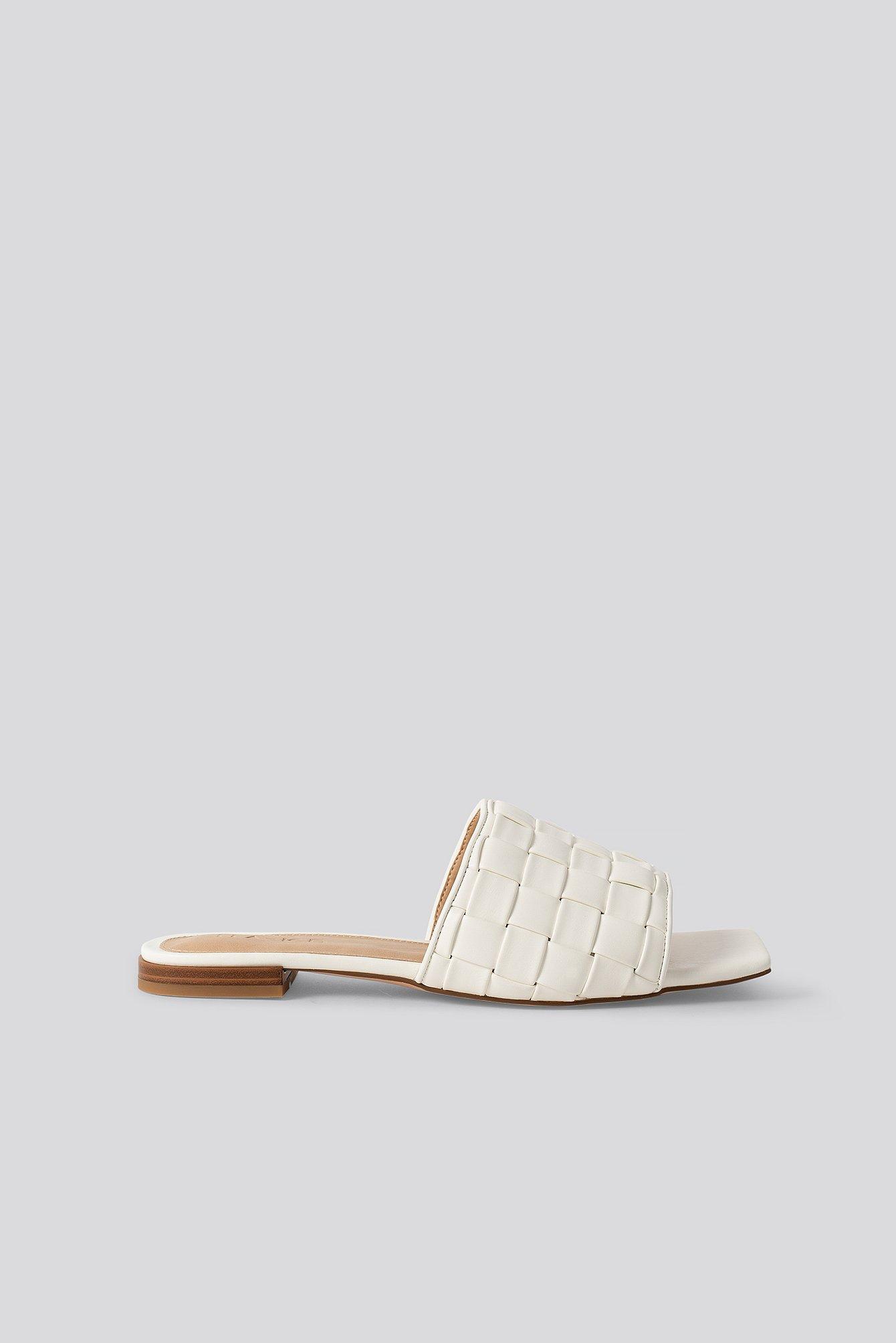 na-kd shoes -  Braided Flats - White