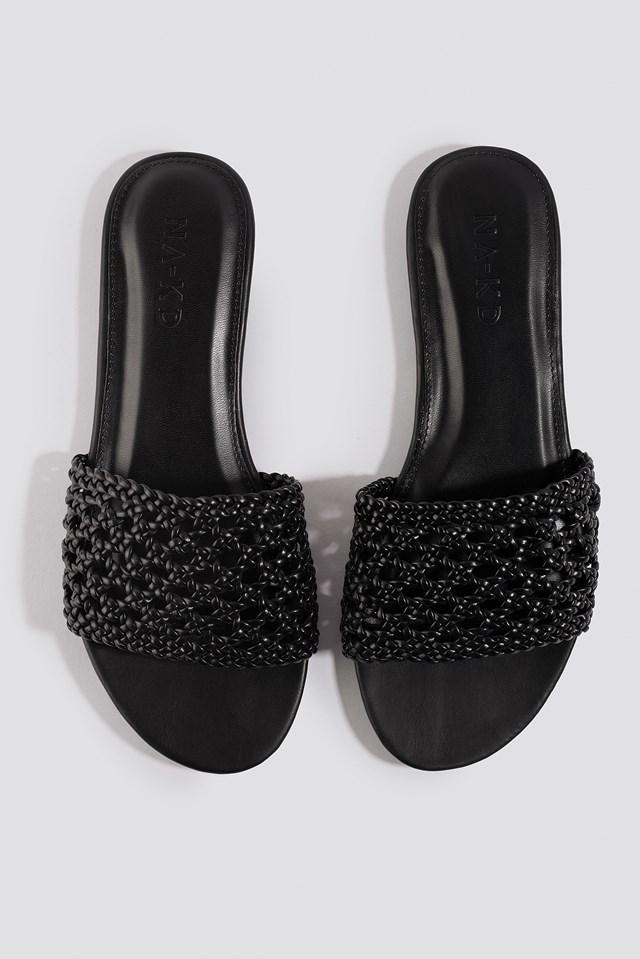 Braided Slip In Sandals Black