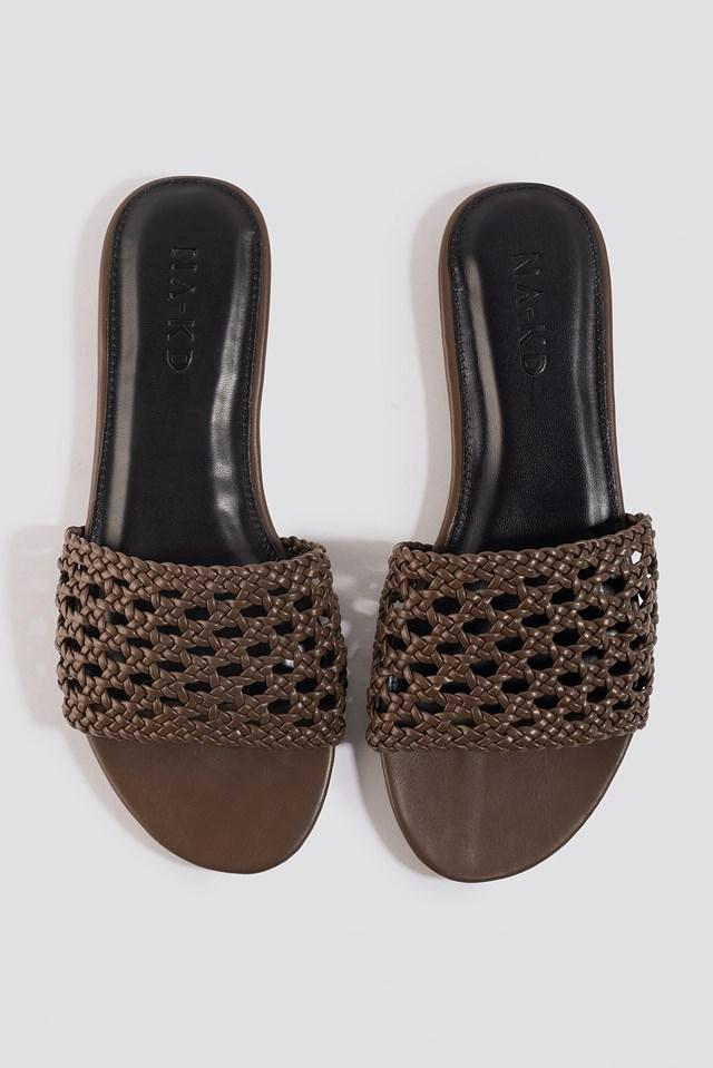 Braided Slip In Sandals Brown