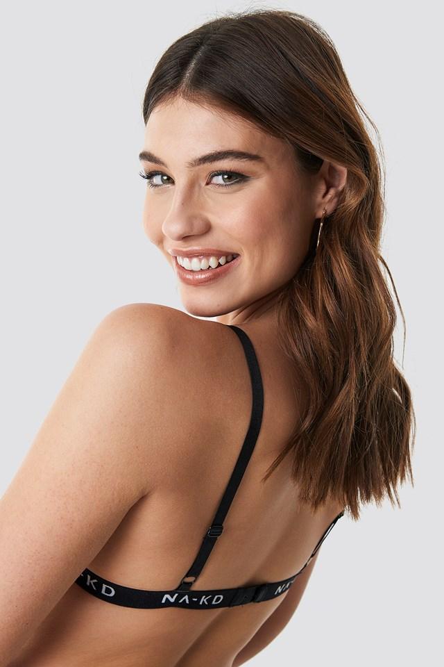 Branded Elastic Lace Bra Black