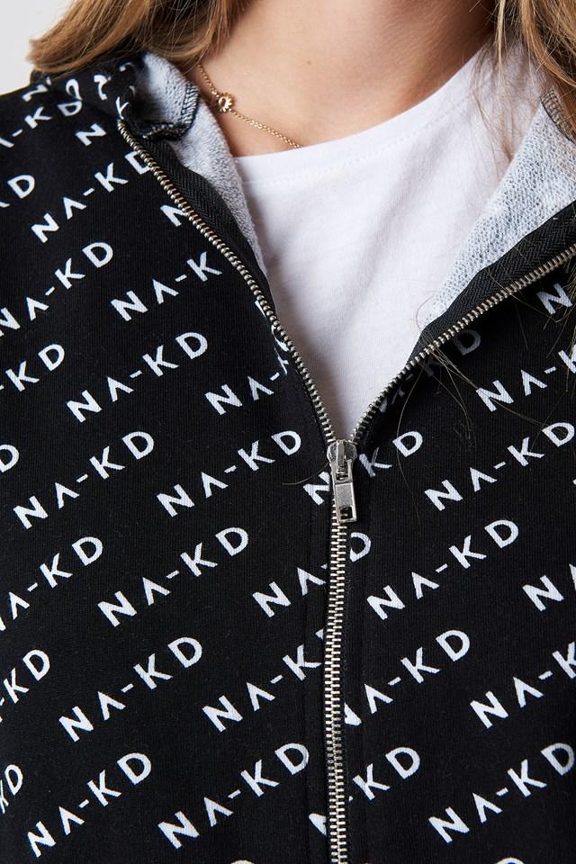 Branded Zipper Hoodie Black