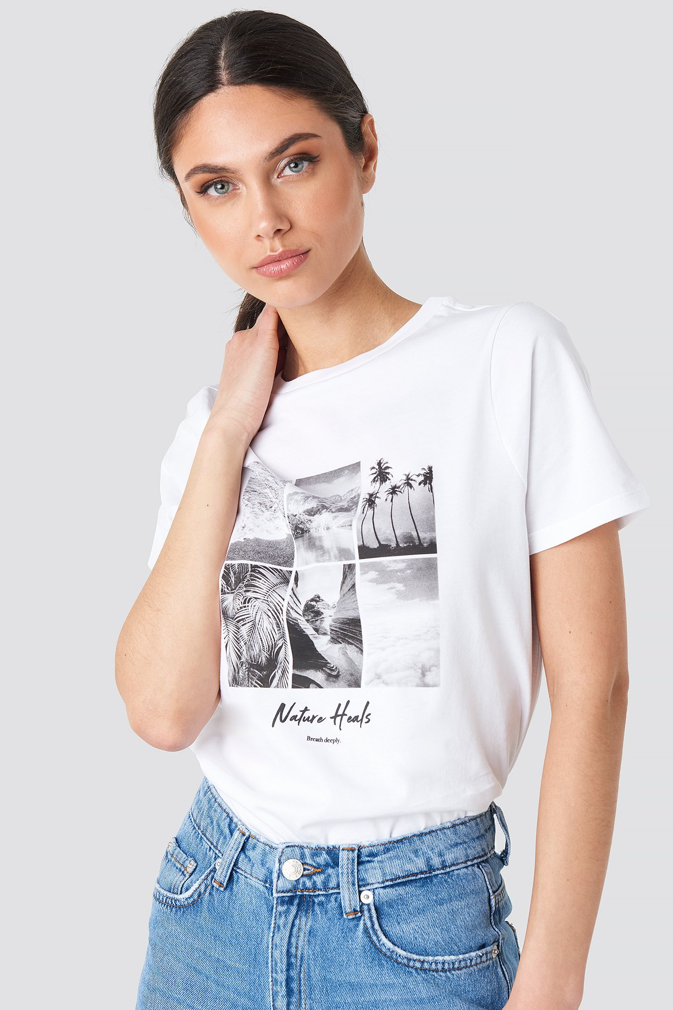 na-kd -  Breathe Deeply T-shirt - White