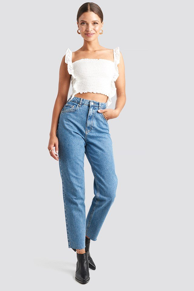 Broderie Anglais Ruffle Crop Top White