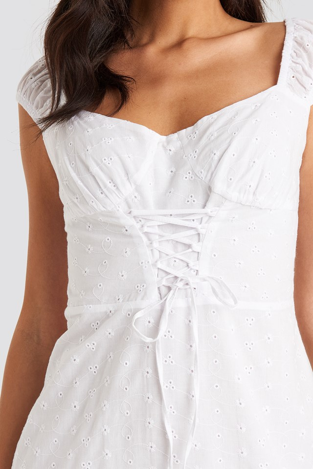 Broiderie Anglais Lace Up Mini Dress Optical White
