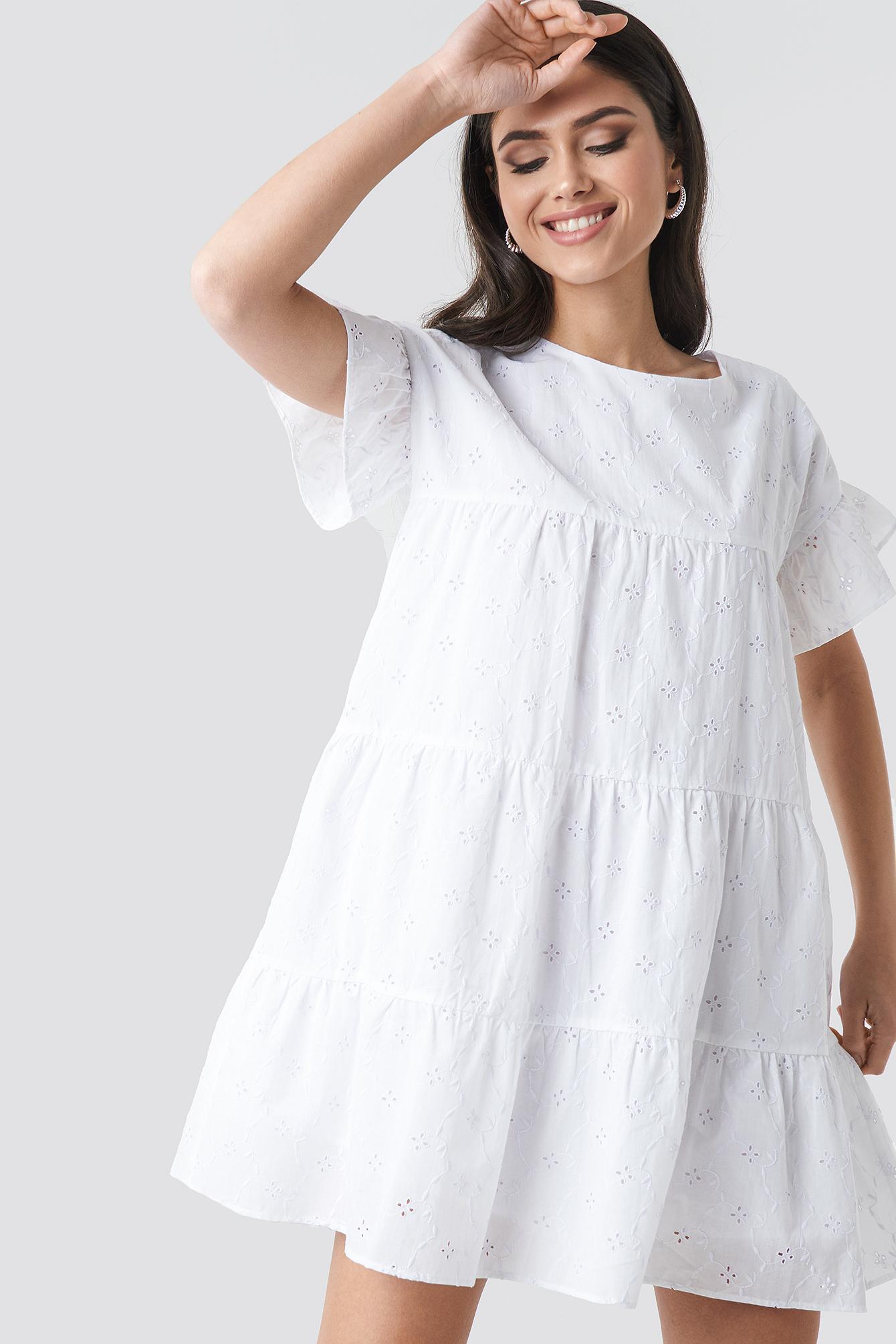 Broiderie Anglais Mini Dress NA-KD.COM