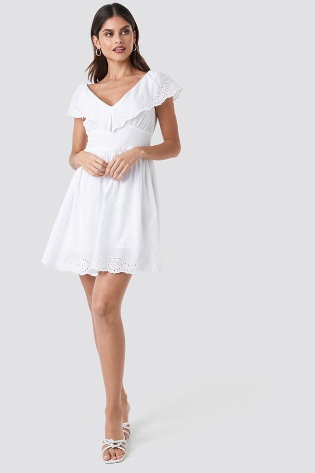 Broiderie Anglais Ruffle Dress White