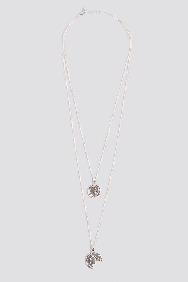 Broken Vintage Coin Necklace Silver