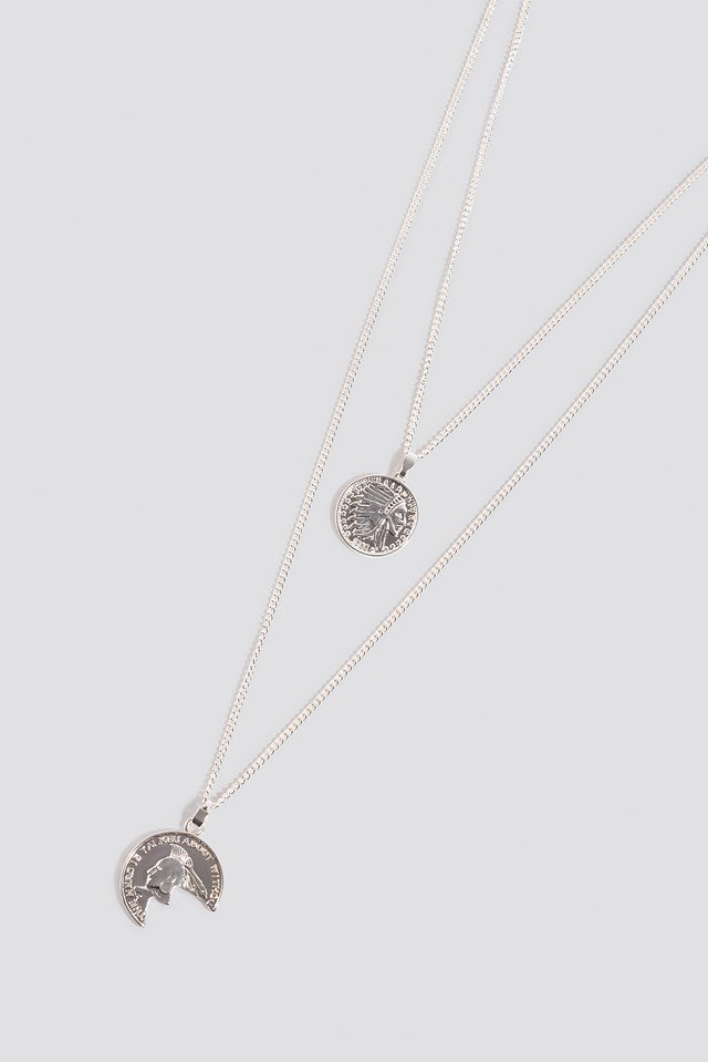Broken Vintage Coin Necklace Silver