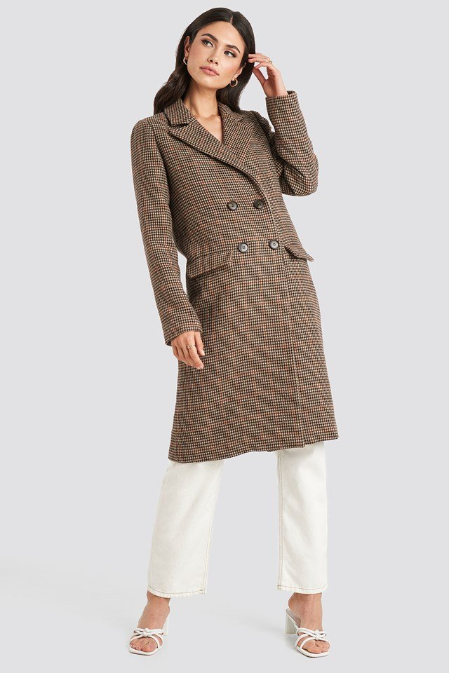 Brown Pepita Coat NA-KD Trend
