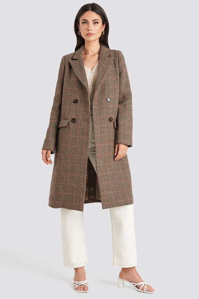 Brown Pepita Coat Brown