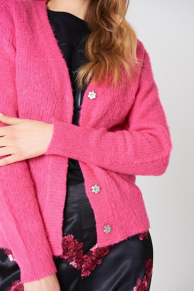 Brushed Cardigan Strong Pink