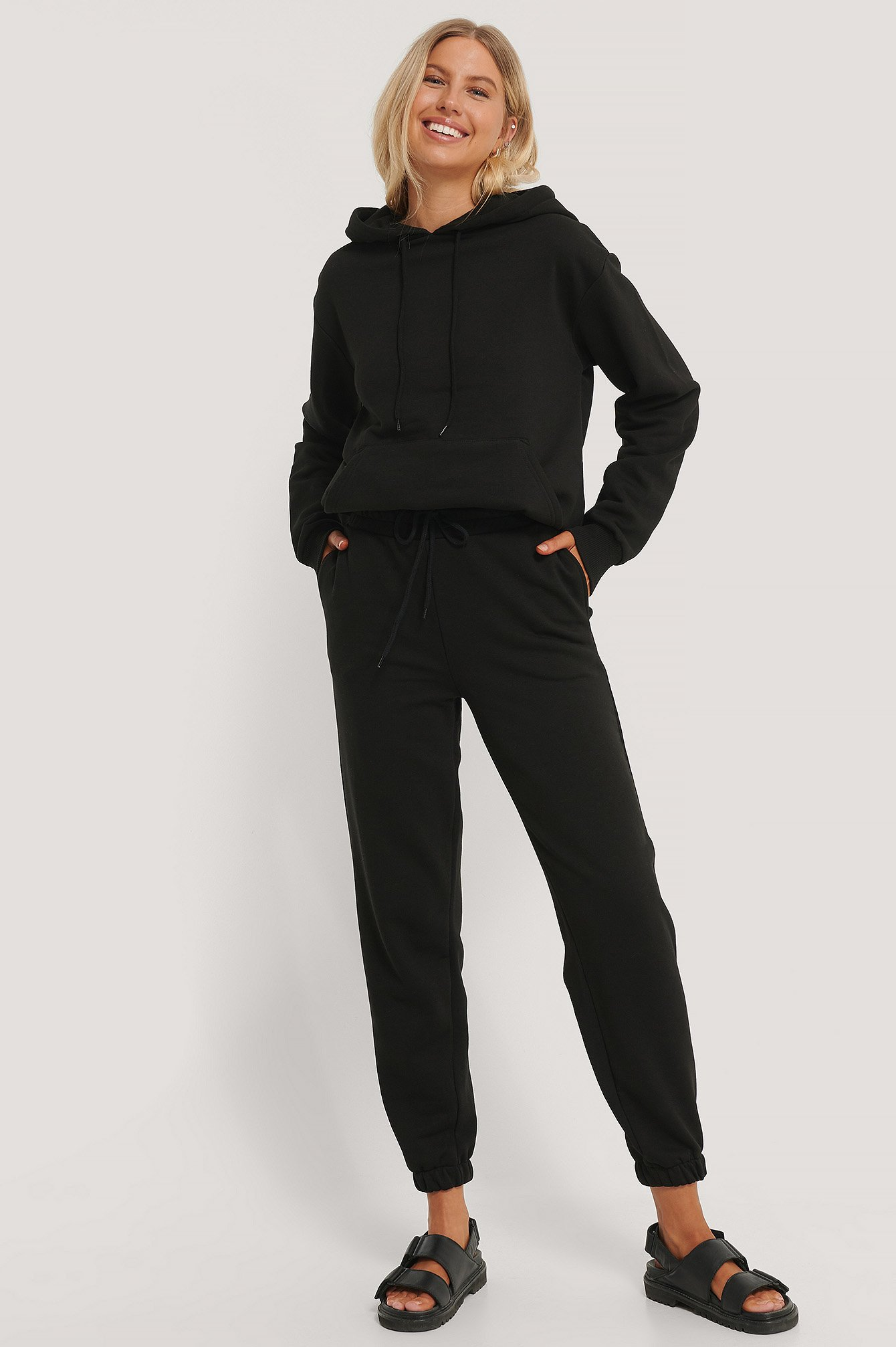 Black Organic Brushed Drawstring Sweatpants