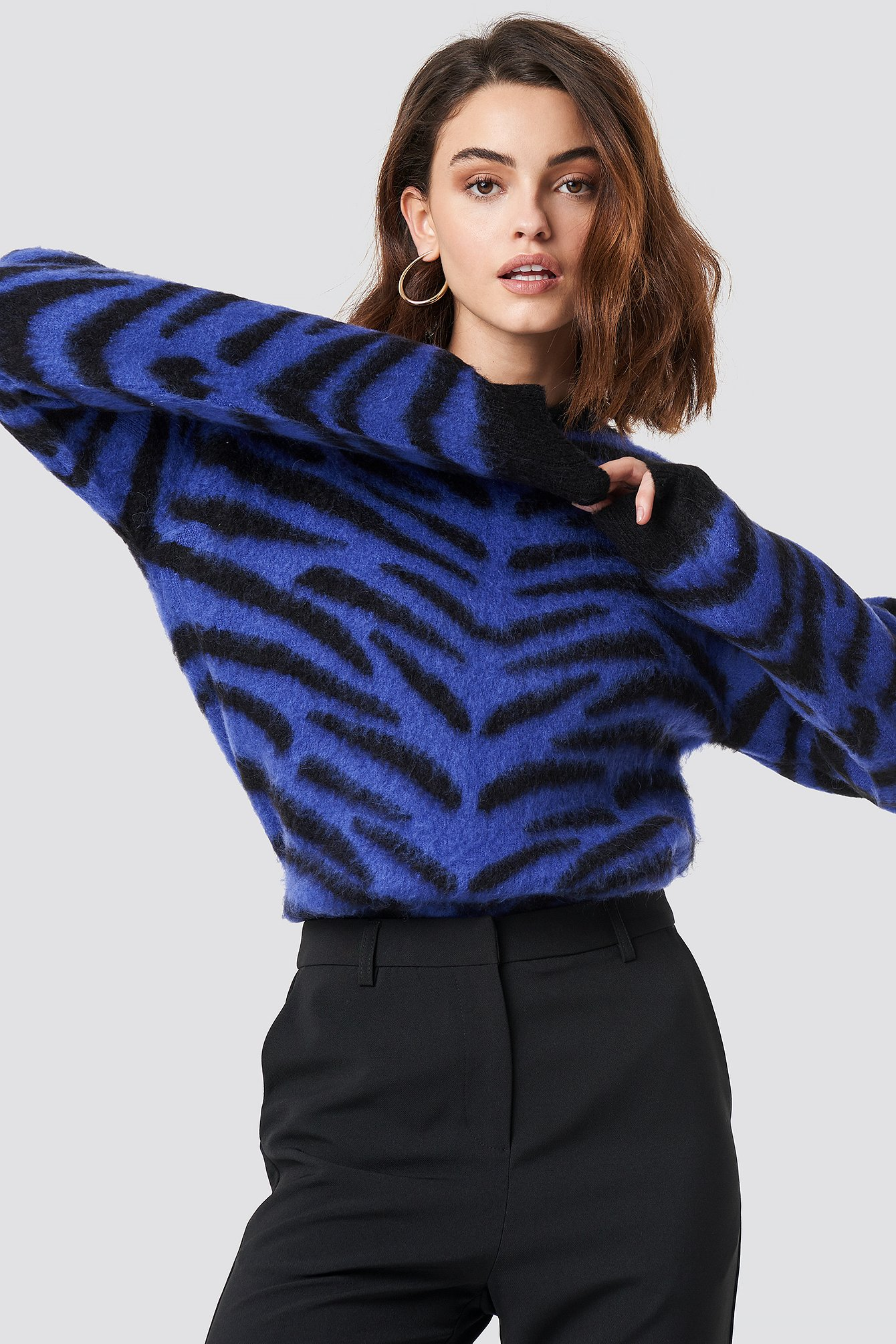 Brushed Zebra Knitted Sweater NA-KD.COM