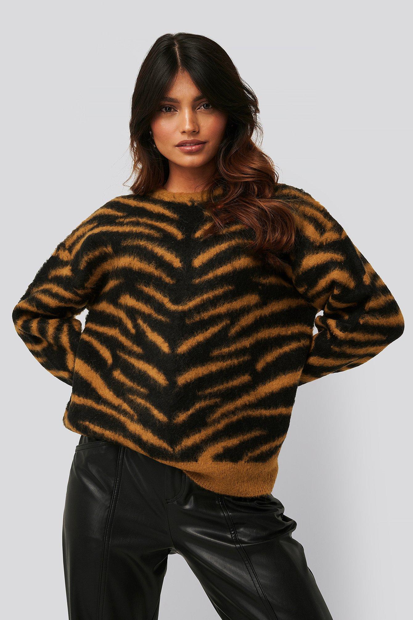 na-kd -  Brushed Zebra Knitted Sweater - Orange