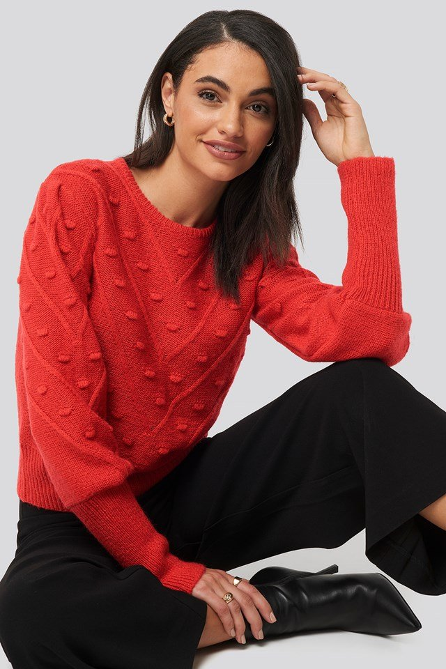 Bubble Detail Knitted Sweater Red