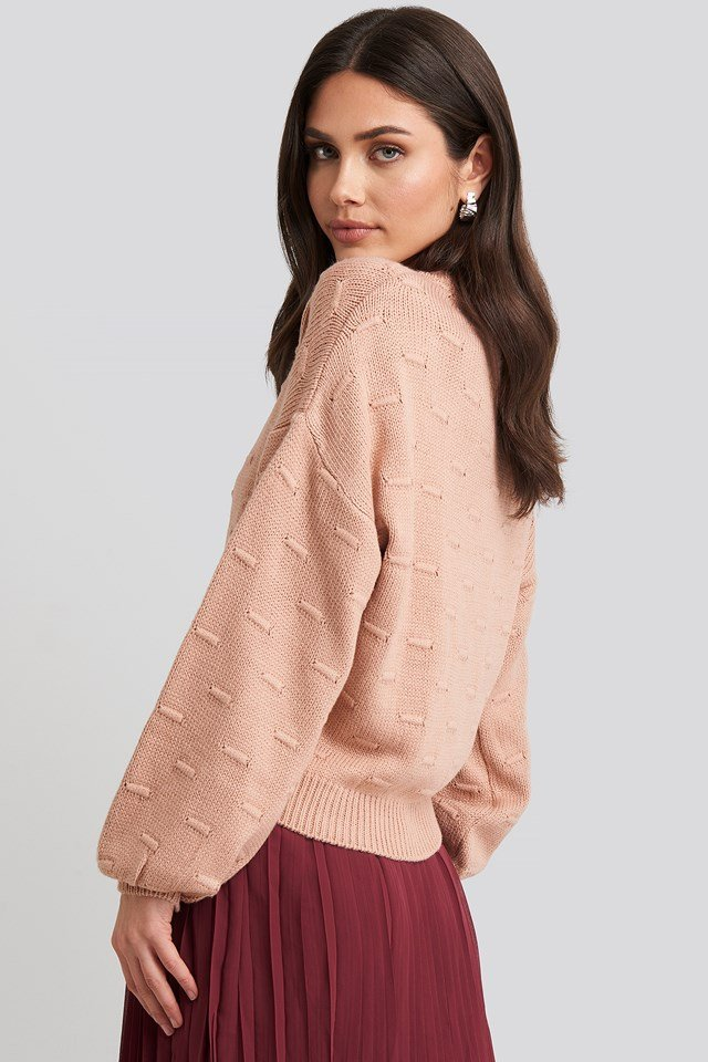 Bubble Stitch Balloon Sleeve Knitted Sweater Dusty Pink