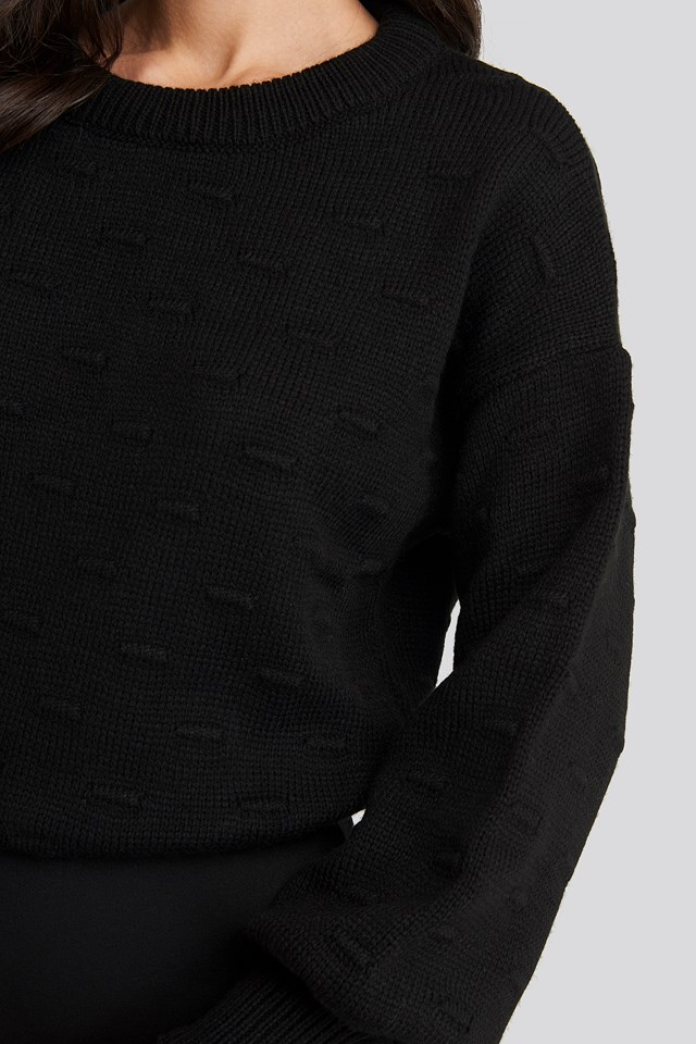 Bubble Stitch Balloon Sleeve Knitted Sweater Black