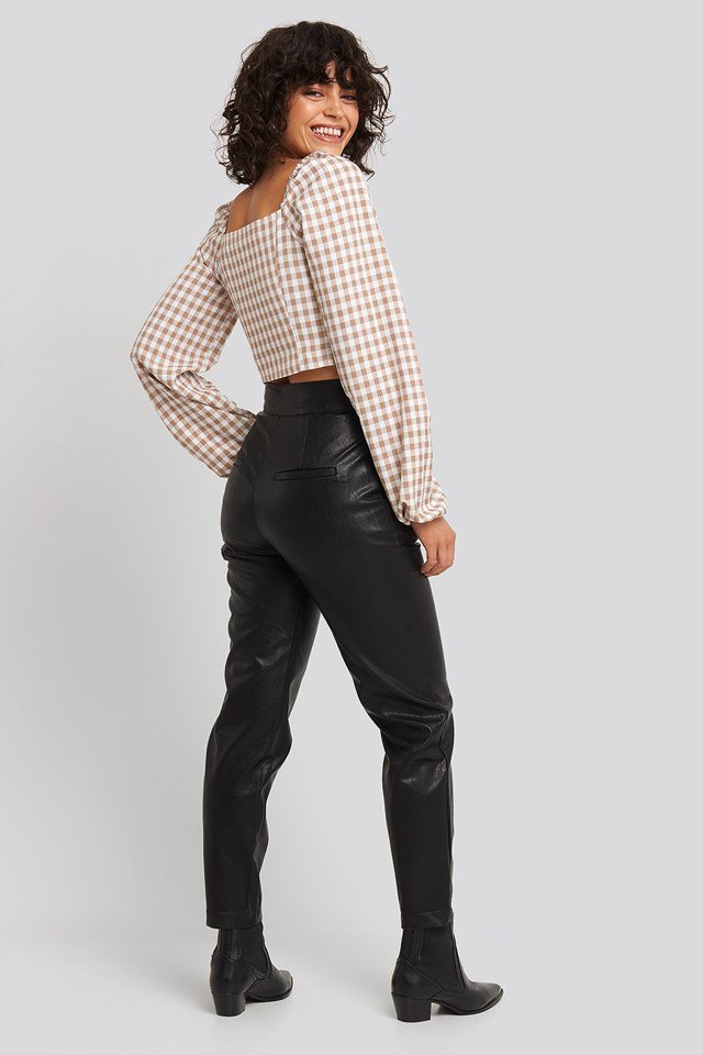Buckle Belt Detailed Pu Pants Black