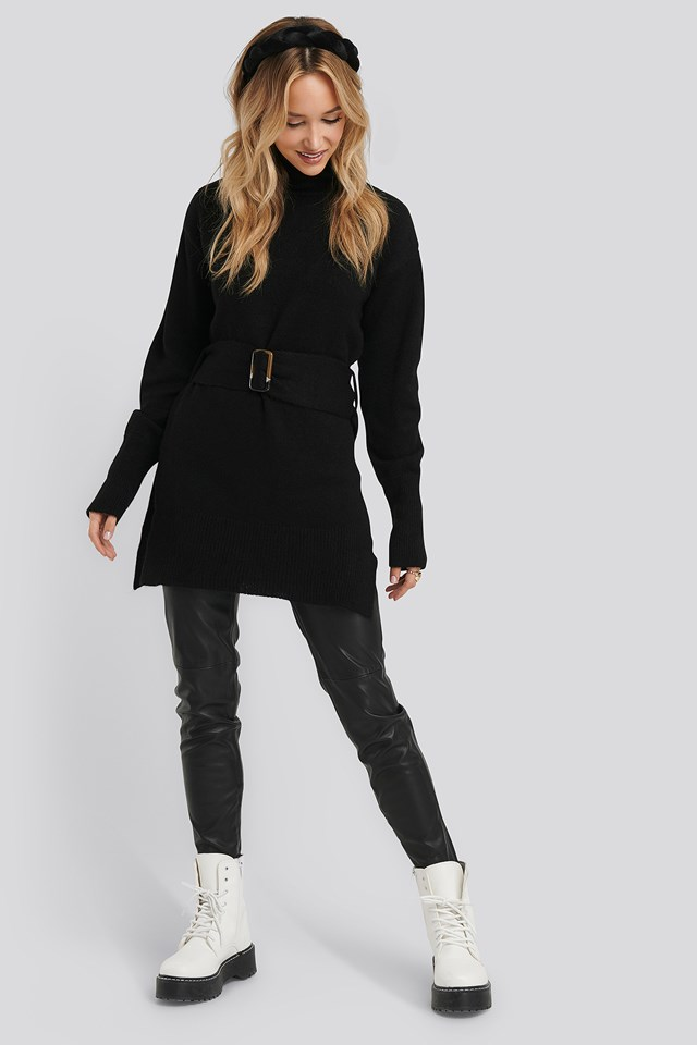 Buckle Belt Knitted Sweater Black