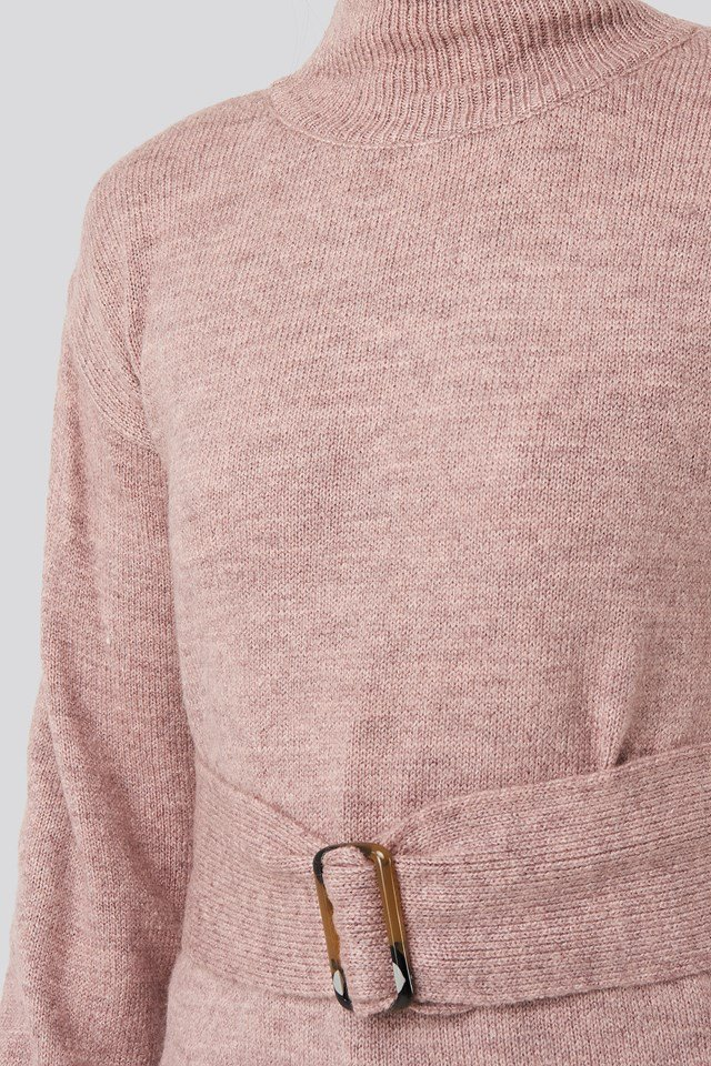 Buckle Belt Knitted Sweater Dusty Dark Pink