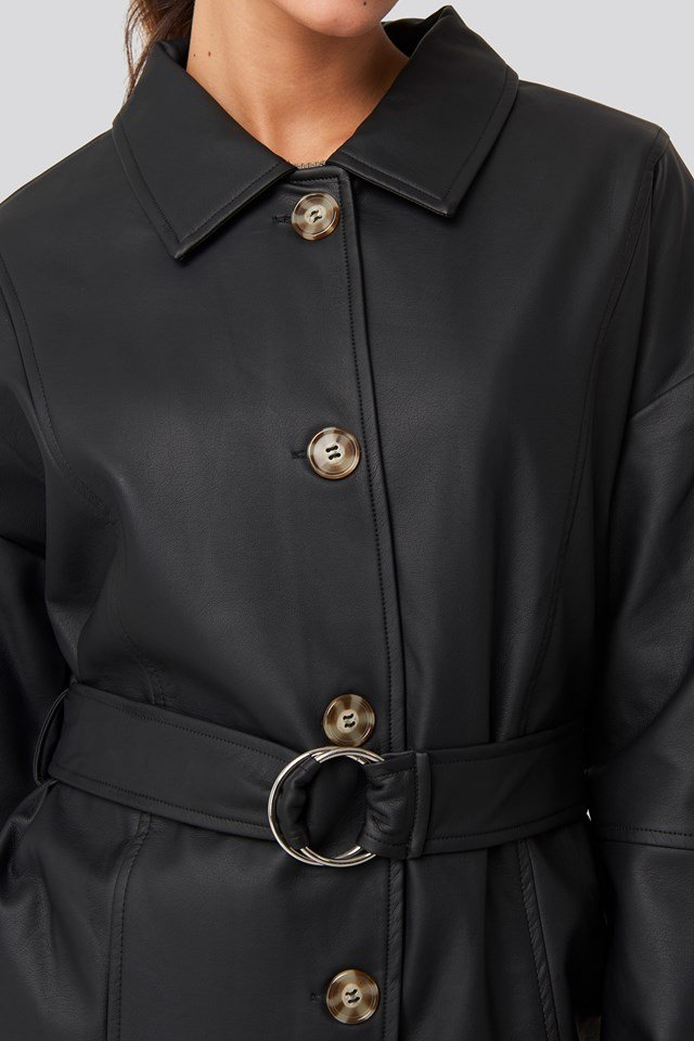 Buckle Belt Pu Jacket Black
