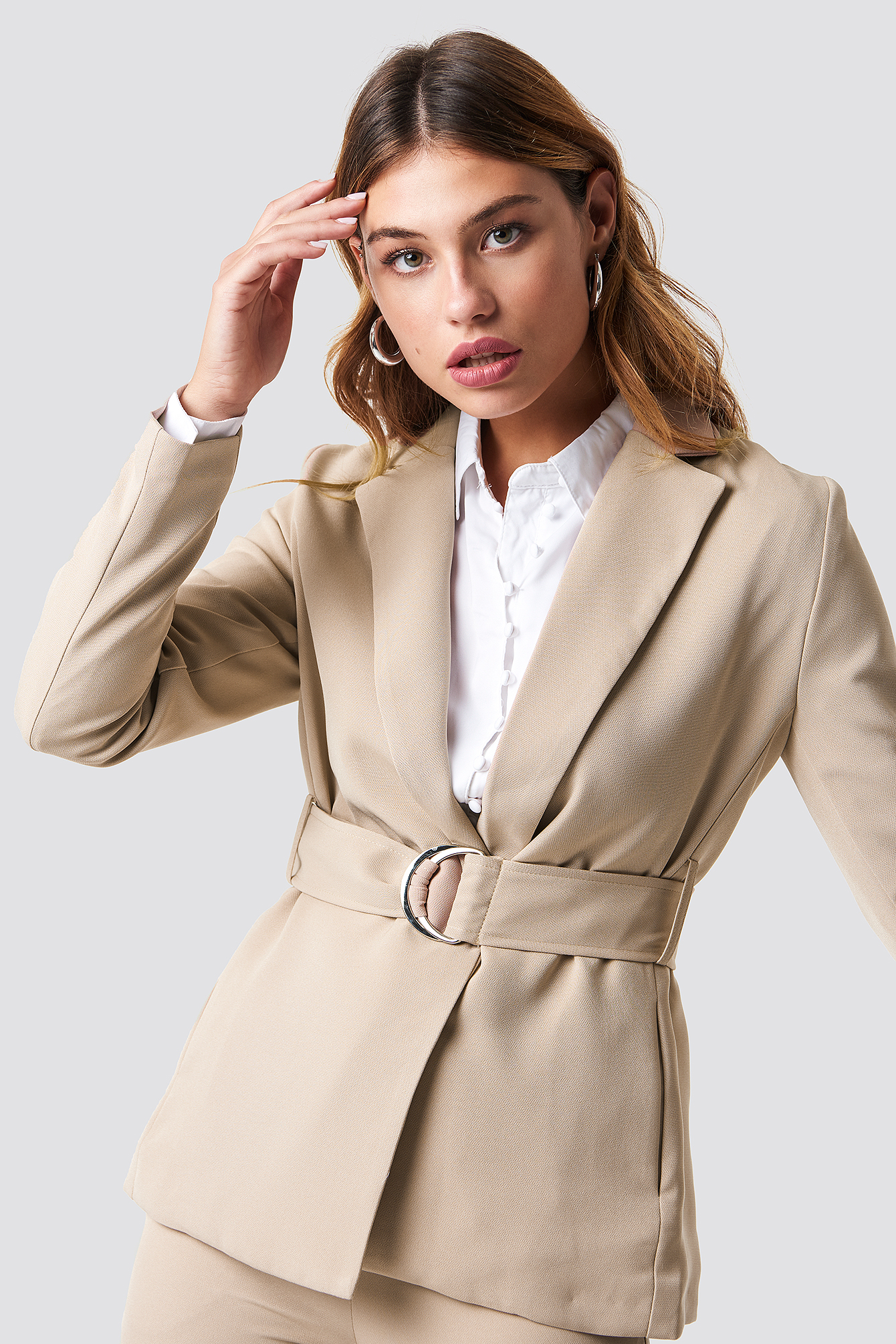 na-kd classic -  Buckle Belted Blazer - Beige