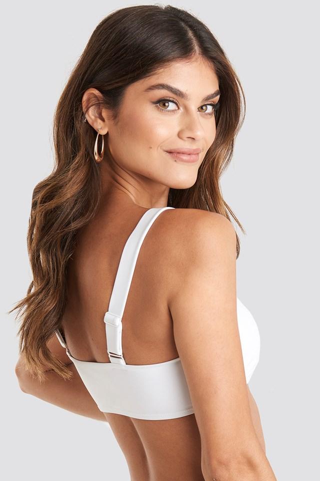 Buckle Bikini Bandeau Top White
