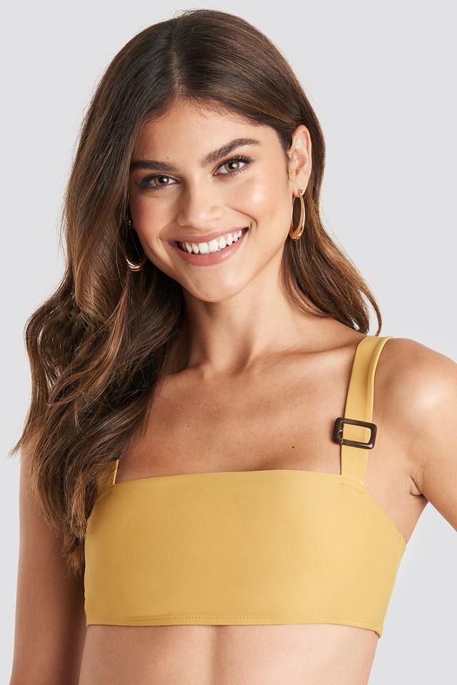 Buckle Bikini Bandeau Top Mustard