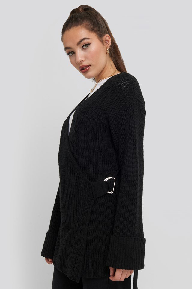 Buckle Detail Knitted Cardigan Black