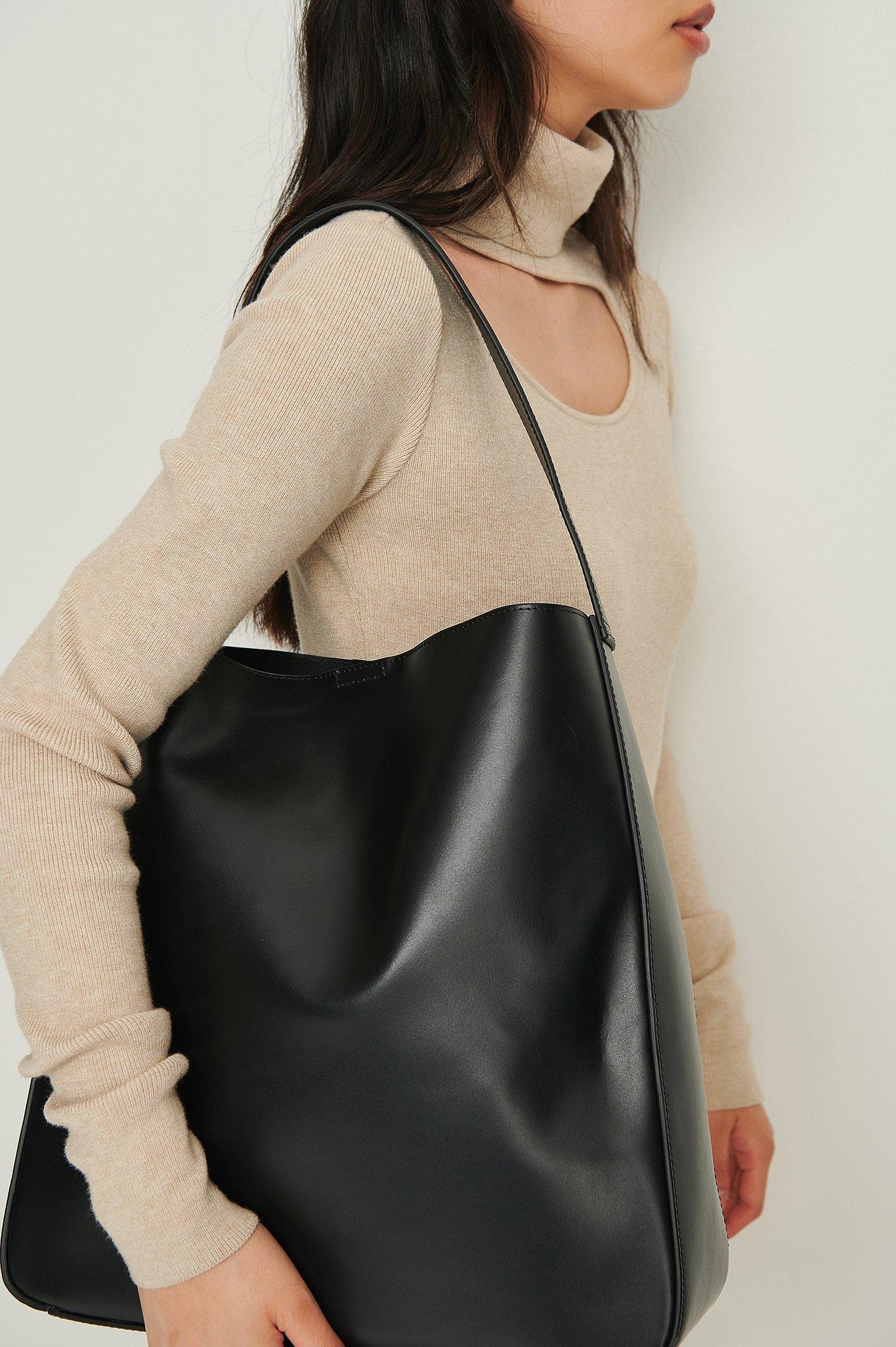 NA-KD Accessories Tote Bag I Skinn Med Spennedetaljer - Black