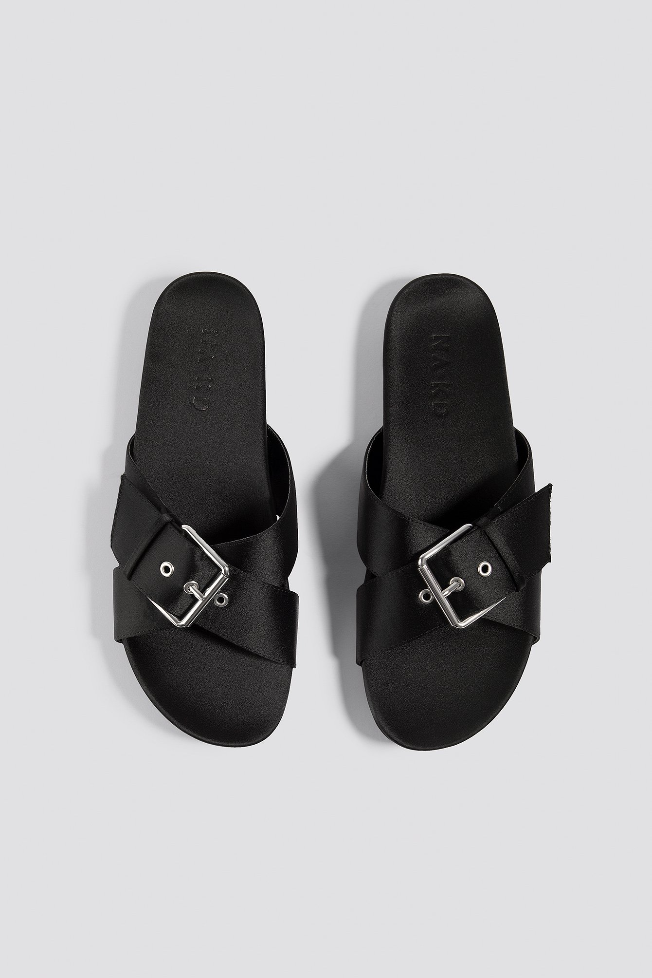 Buckle Detail Satin Slippers NA-KD.COM