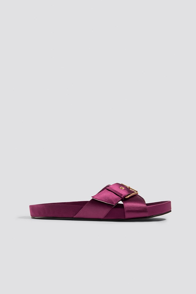 Buckle Detail Satin Slippers Burgundy