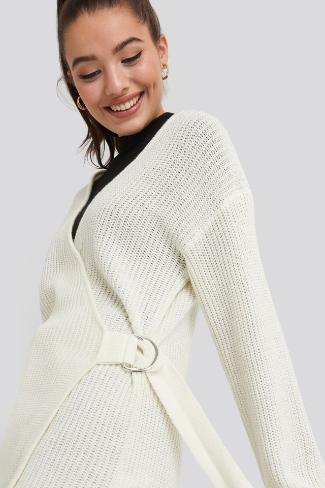 Buckle Detail Knitted Cardigan Offwhite