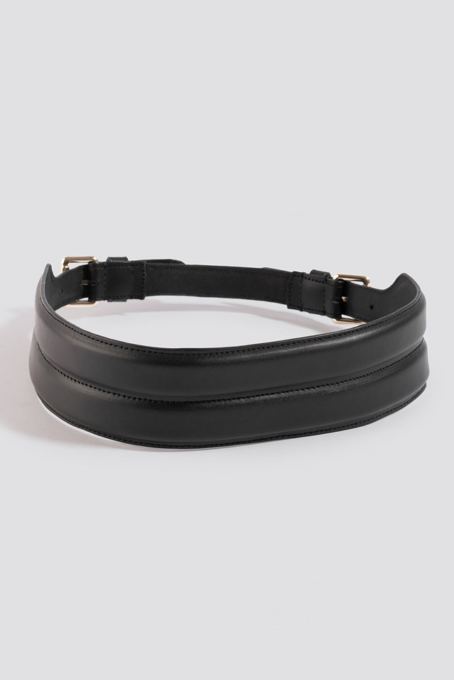 Buckle Leather Waist Belt Black