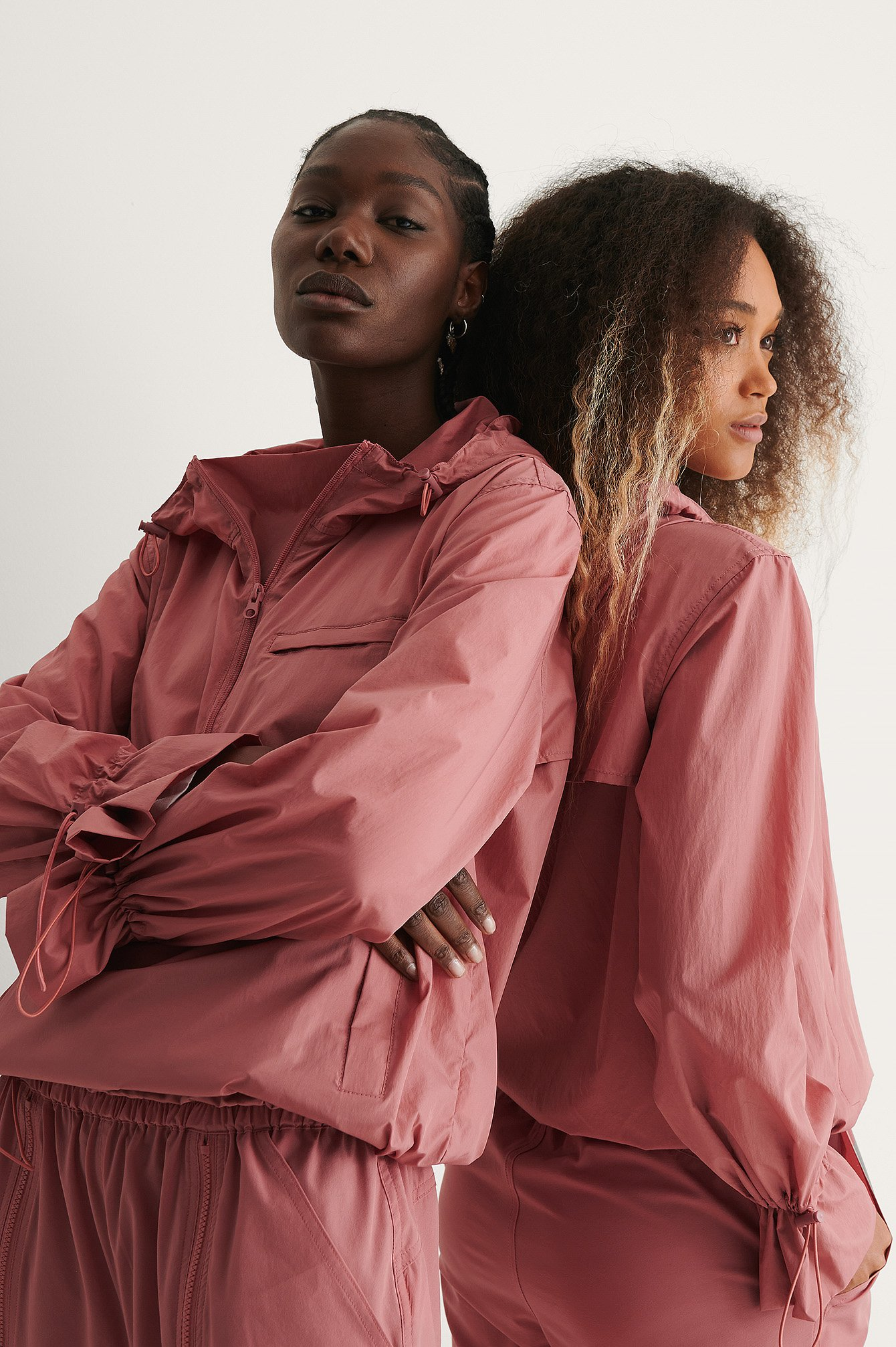 Dusty Pink Half Zip-up Jacket