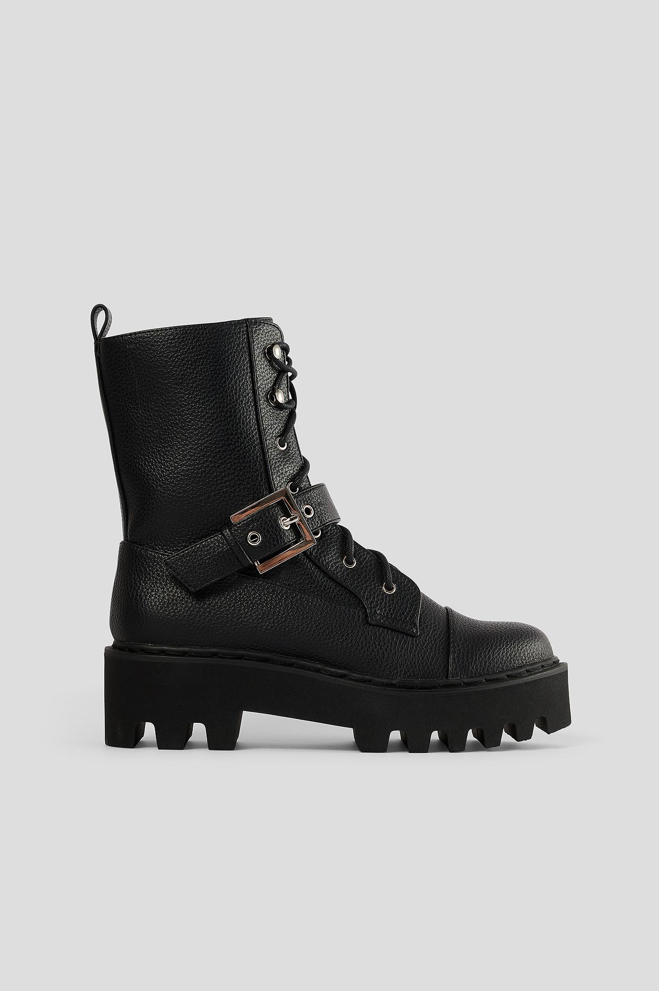 na-kd shoes -  Kampfstiefel Mit Schnalle - Black