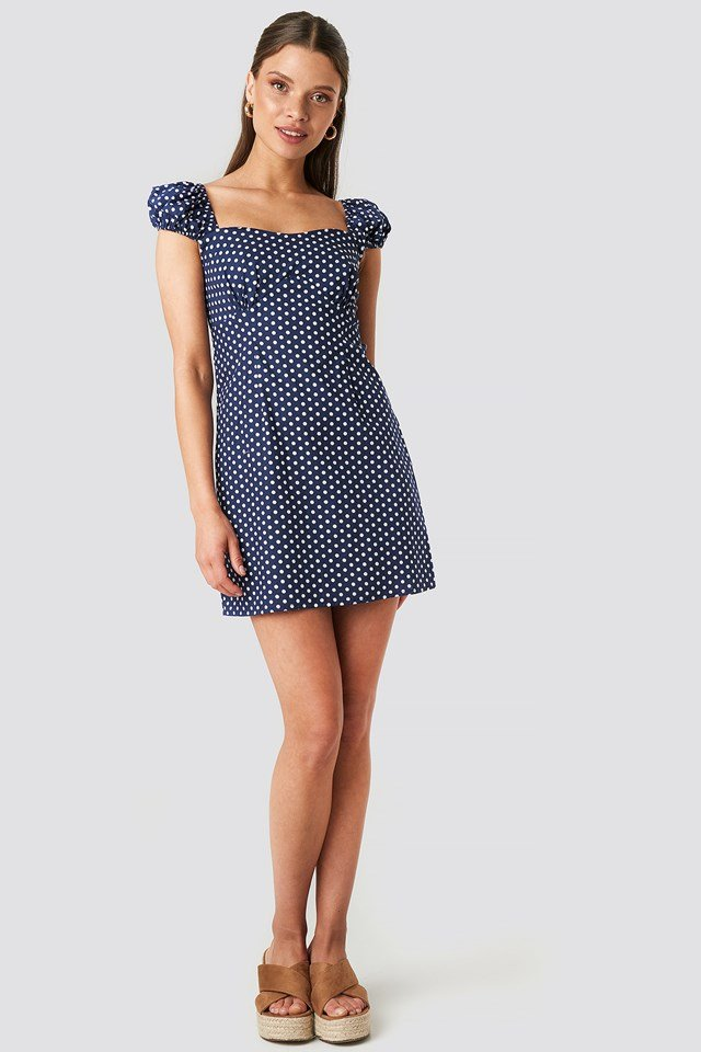 Bust Detail Mini Dress Blue/White Dot