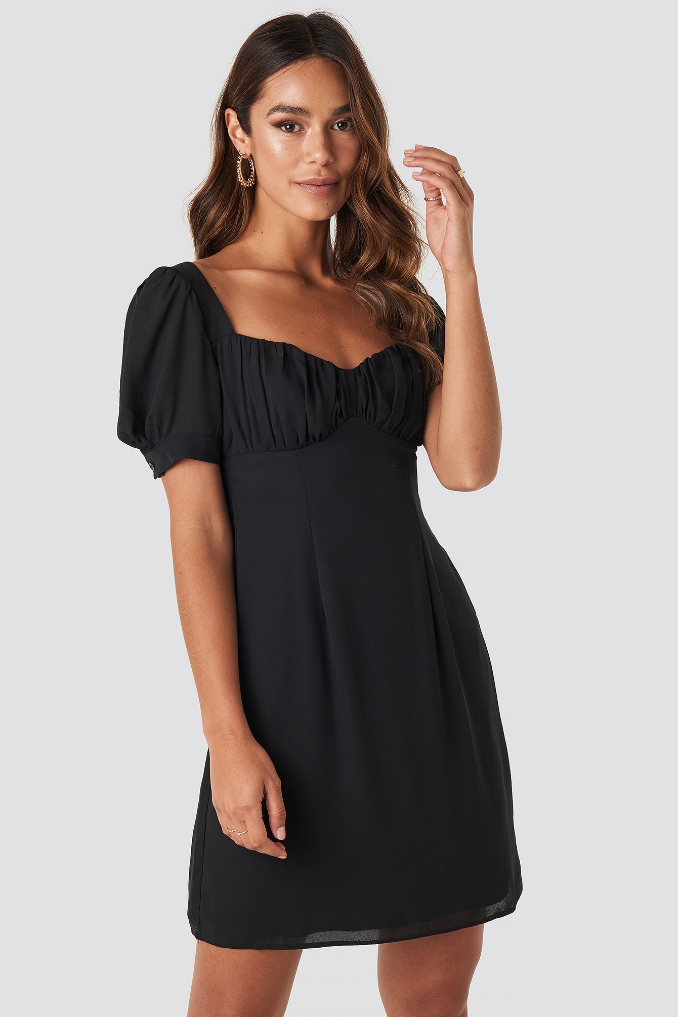 Black Bust Puff Sleeve Mini Dress