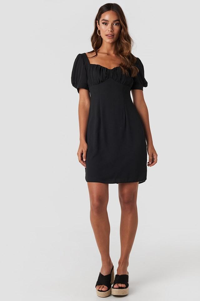 Bust Puff Sleeve Mini Dress Black