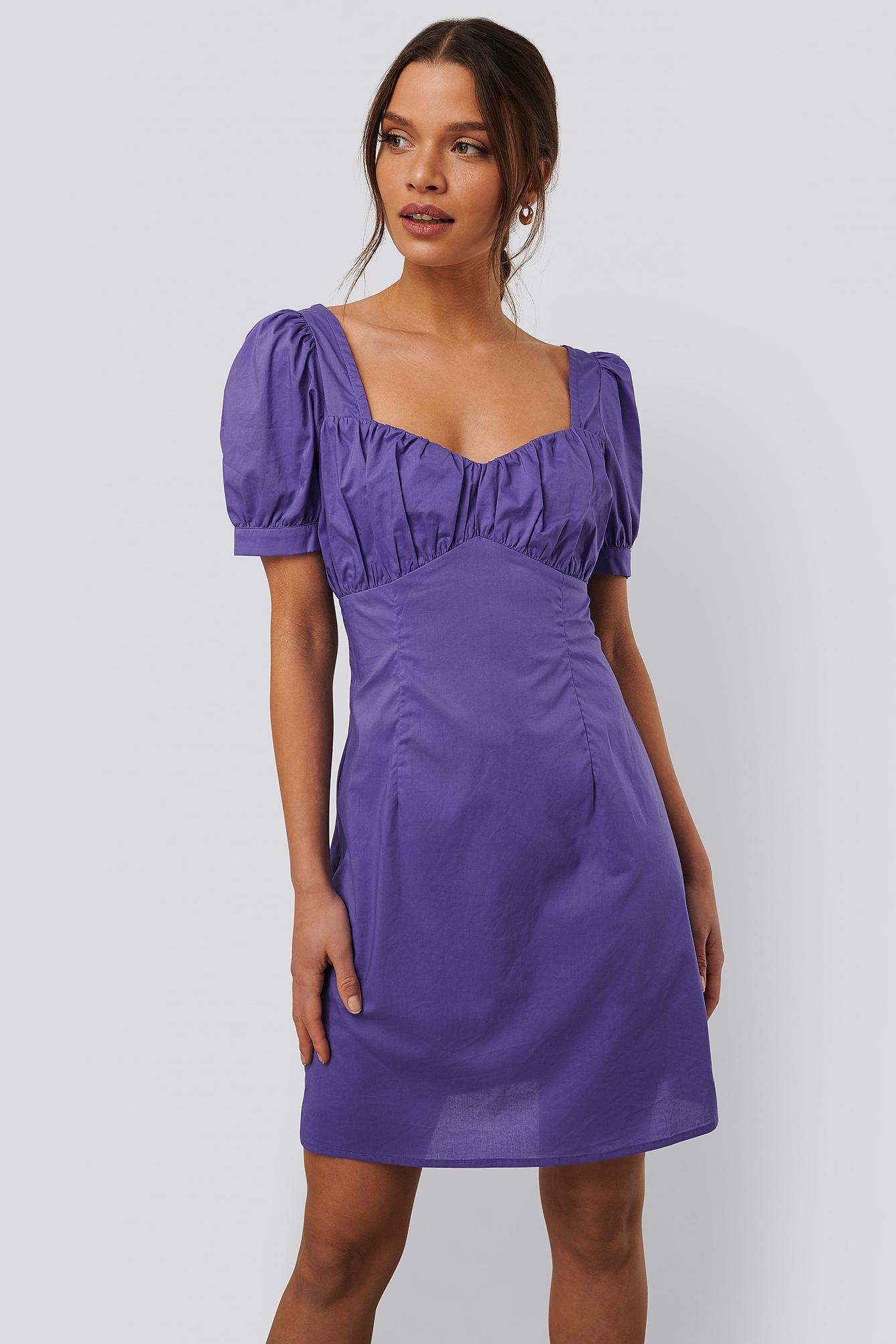 na-kd trend -  Minikleid Mit Puffärmeln - Purple