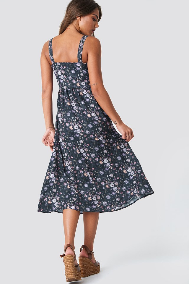Bustier Midi Dress Flower Print