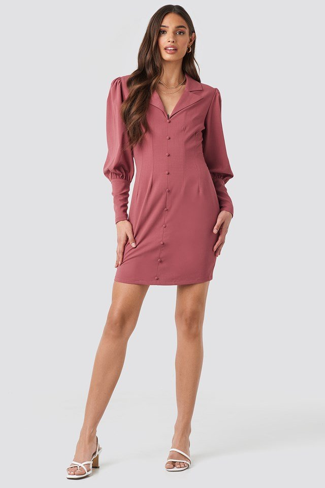 Button Front Mini Dress Dark Purple Rose