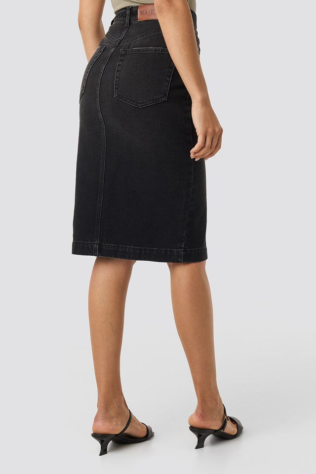Button Up Denim  Midi Skirt Washed Black