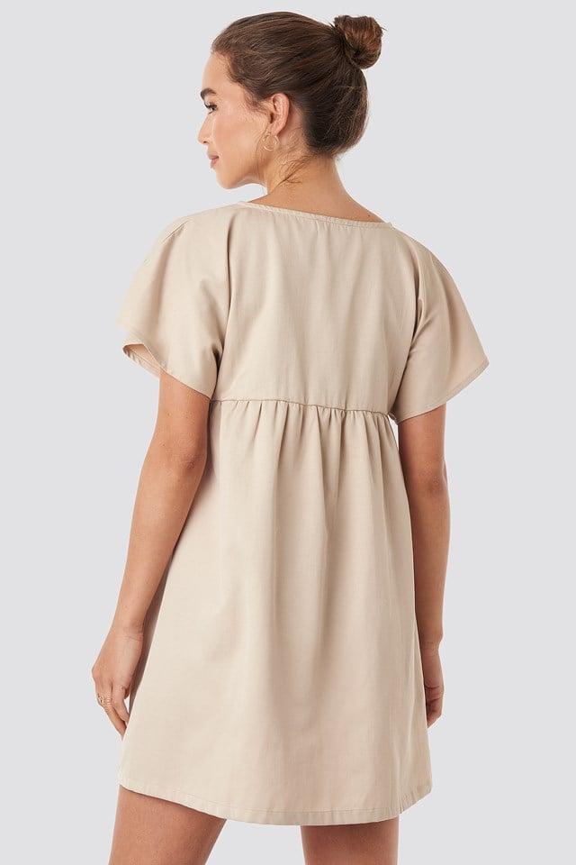 Button Detail Loose Fit Mini Dress Beige
