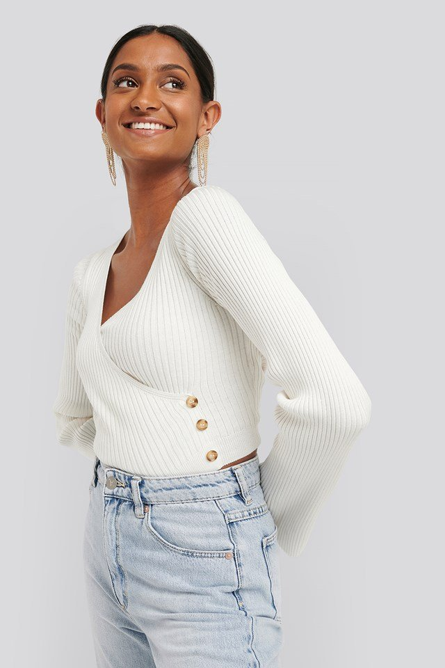 Button Detail Bell Sleeve Sweater Offwhite