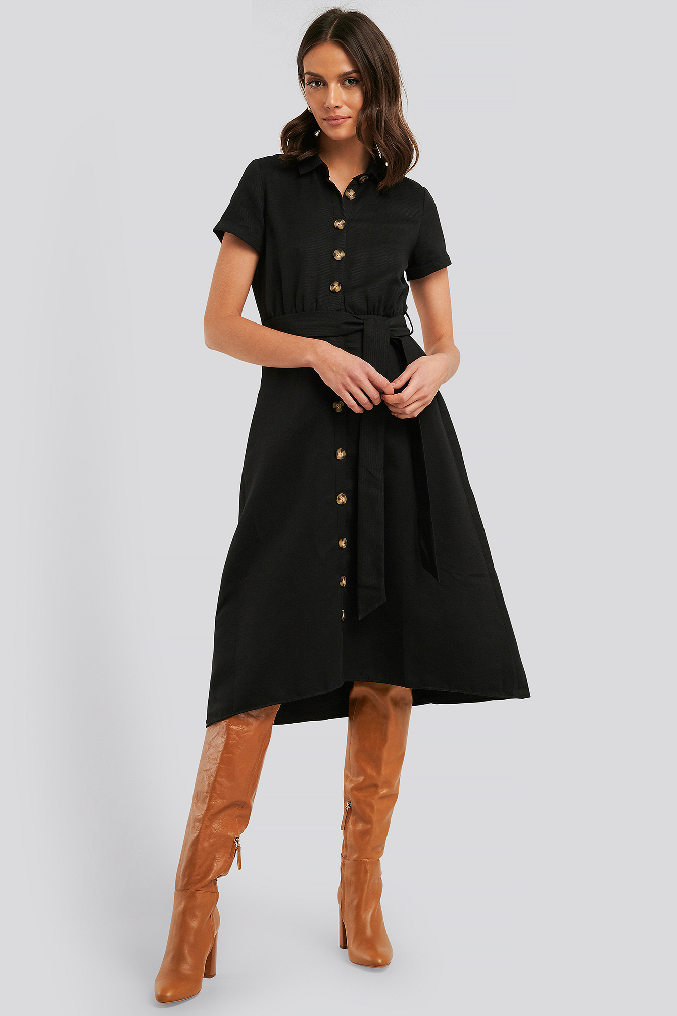 Black Button Detailed Belt Midi Dress