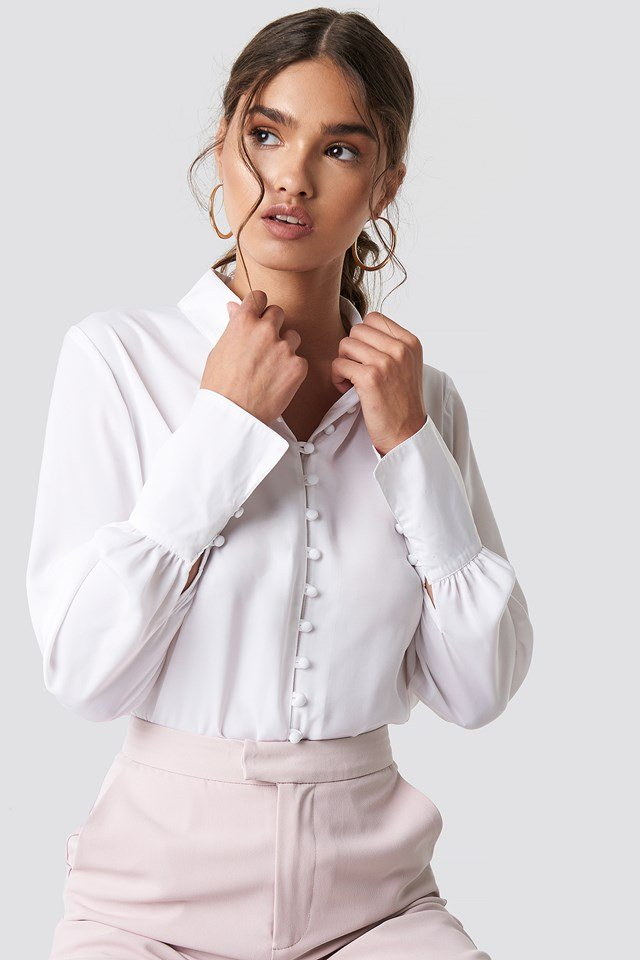 Button Detailed Blouse White