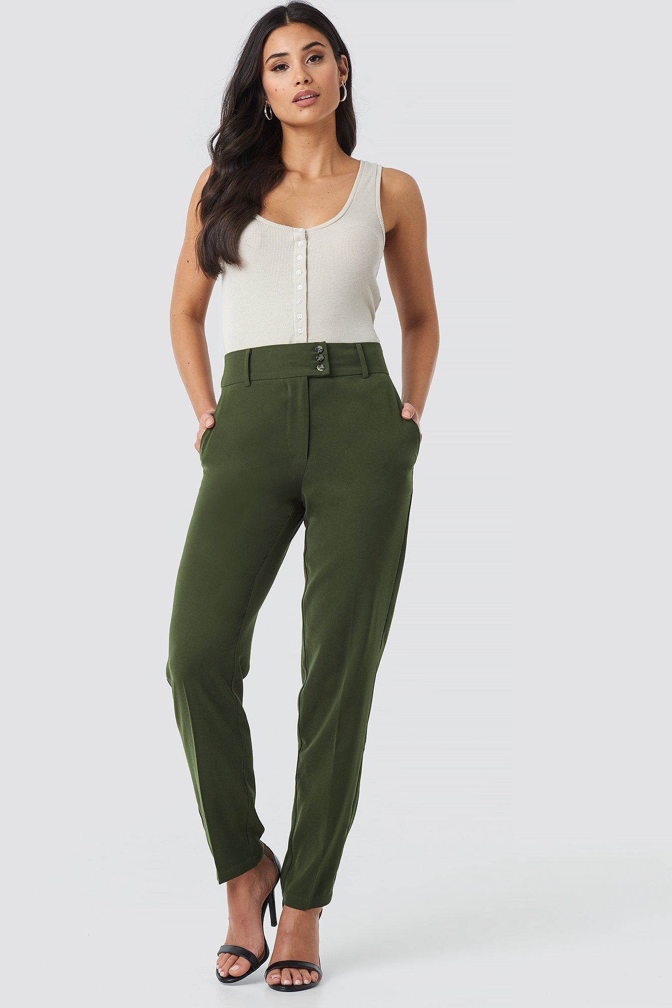 na-kd trend -  Button Detailed Creased Suit Pants - Green
